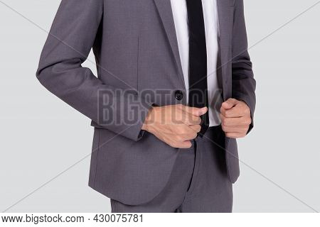 Closeup Young Asian Businessman In Suit With Confident And Friendly Isolated On White Background, Bu