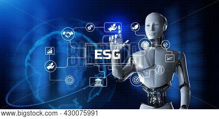 Esg Environmental Social Governance Concept. Robot Pressing Virtual Button 3d Render Illustration