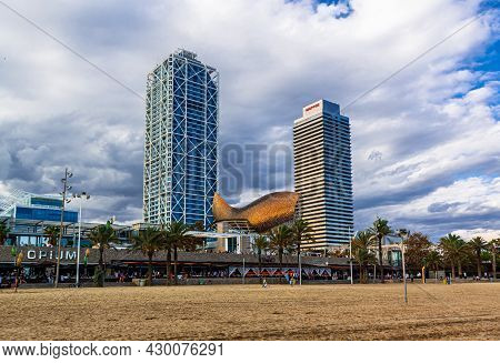 Barcelona, Spain - May 10, 2011: View Of The 2 Tallest Buildings In Barcelona With F. Gehry Modern S