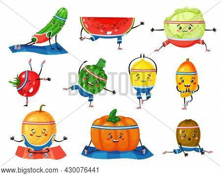 Fruits And Vegetables In Yoga Poses. Cute Melon And Lemon Meditating. Healthy Fruit And Vegetable Ch