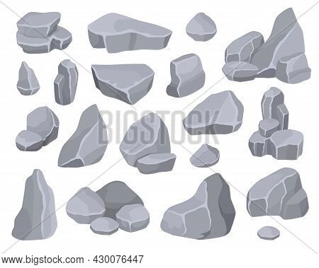 Cartoon Grey Rock Stones Rubbles, Boulders And Mountain Cliffs. Stone Formations, Pile Of Rocky Debr