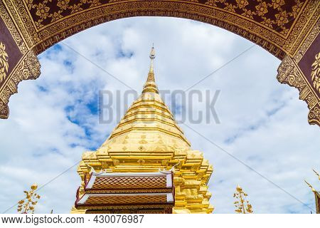 Landmarks, Important Tourist Attractions In Chiang Mai, Phra That Doi Suthep, Large Golden Pagoda At