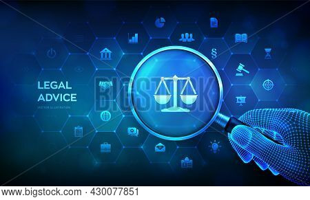 Labor Law, Lawyer, Attorney At Law, Legal Advice Concept With Magnifier In Wireframe Hand And Icons.