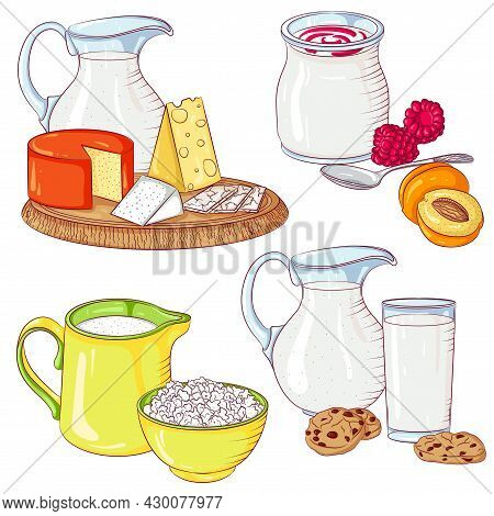 Dairy Products Set. Vector Illustration Isolated On A White Background. Set Of Milk, Cheese, Yogurt,