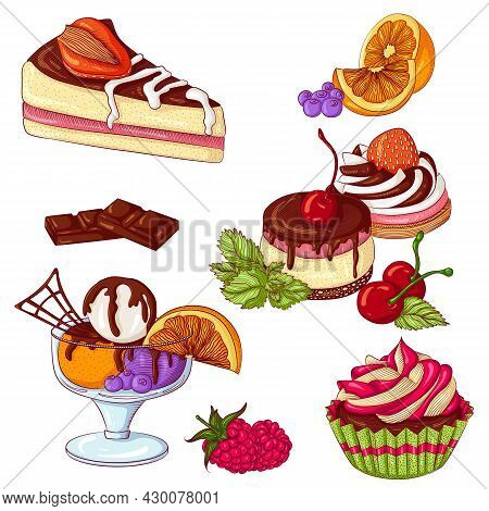 Desserts Set. Vector Illustration Isolated On A White Background. Set Of Cupcake, Ice Cream, Cake. D