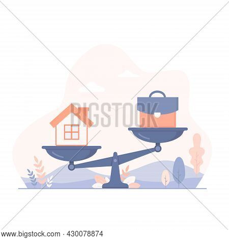 Home And Business Work On Scales Flat Illustration. Balance Between Work, Money And Your Family. Car