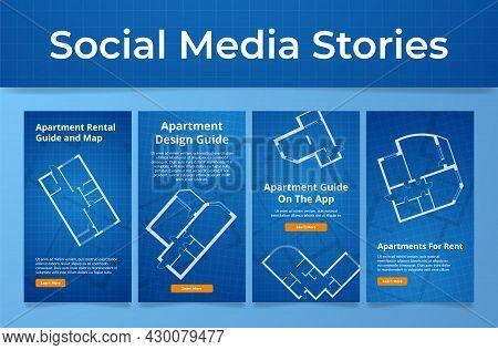 Set Of Apartment Design Guide Poster Social Media Stories Vector Flat Illustration Map Application