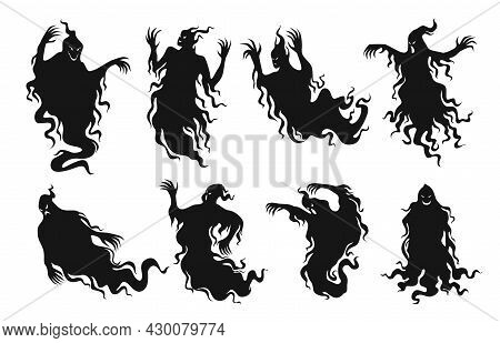 Set Of Silhouettes Of Scary Ghosts Vector Flat Illustration Evil Spirit Black Shadow Halloween Demon