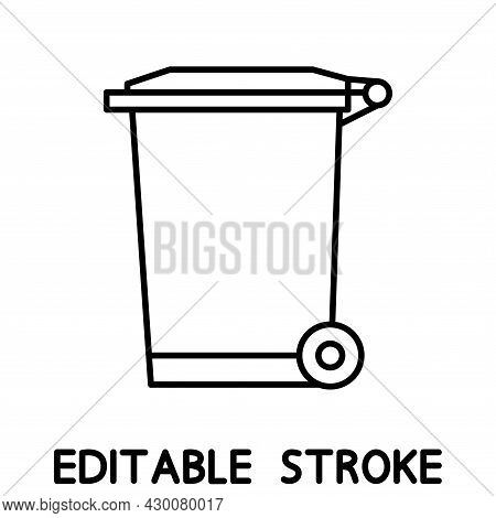 Recycle Bin For Trash And Garbage. Street Plastic Wheelie Waste Bin. Outline Icon Of Dumpster Isolat