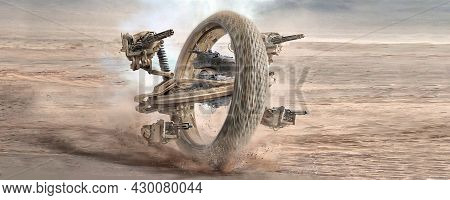 Digital Generated Mix Media Concept Design Of Sci Fi Futuristic Vehicle Weapon  Mech With Wheel Shot