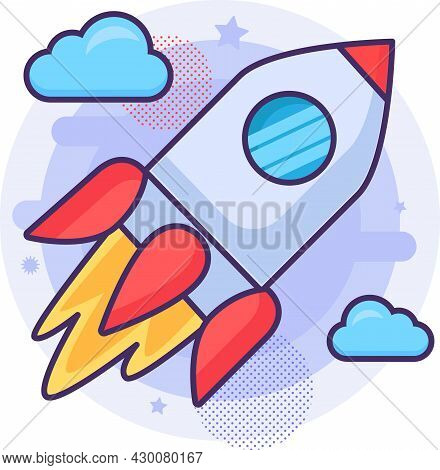 Rocket Spaceship Launch Flying To Space Vector
