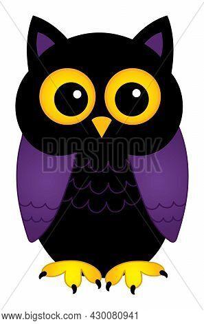 Cute Halloween Owl On White Background. Happy Halloween. Halloween Owl Vector Illustration