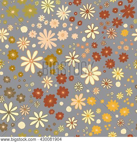 Flower Field Seamless Vector Pattern. Repeating Dense Liberty Doodle Flower Meadow Background. Scand