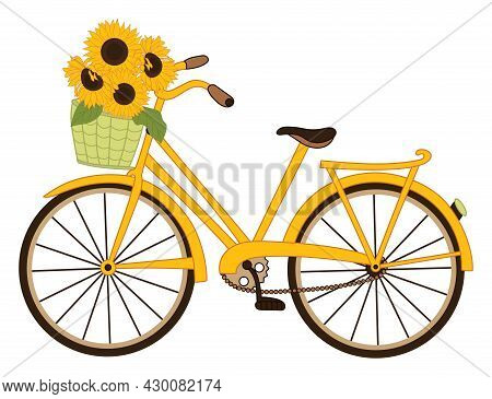 Yellow Bicycle With Basket Of Sunflowers. Vector Bike. Vector Sunflower. Bike With Basket Of Sunflow