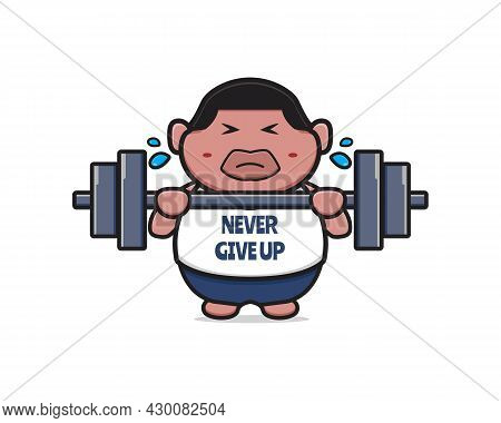 Cute Fat Boy Do Weight Lifting Never Give Up Cartoon Icon Illustration. Design Isolated Flat Cartoon