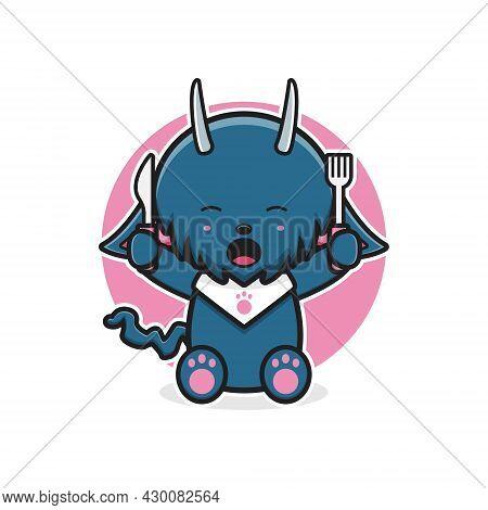 Cute Monster Ready To Eat Cartoon Icon Illustration. Design Isolated Flat Cartoon Style