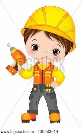 Vector Cute Little Boy Drilling. Vector Construction. Vector Little Brunette Boy Wearing Constructio