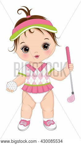 Vector Cute Baby Girl Wearing Sport Pink And White Uniform, Holding Golf Club And Ball. Baby Girl Is