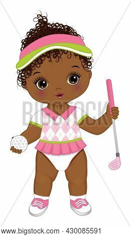 Vector Cute Black Baby Girl Wearing Sport Pink And White Uniform, Holding Gold Club And Ball. Africa