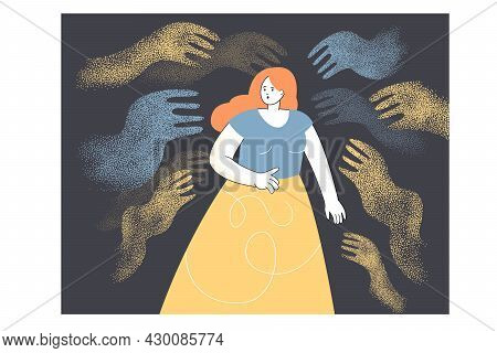 Young Indebted Woman Scared Of Abstract Hands Around Her. Flat Vector Illustration. Fearing Influenc