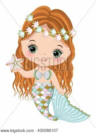 Cute Little Mermaid With Glitter Turquoise And Pink Fishtail Holding Starfish. Mermaid Is Redheaded
