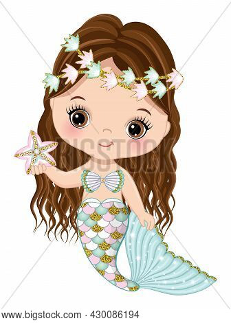 Cute Little Mermaid With Glitter Turquoise And Pink Fishtail Holding Starfish. Mermaid Is Brunette W