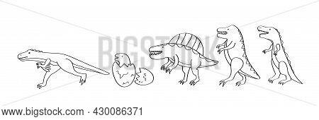 Dinosaur Set. Hand-drawn Coloring Page For Kids. The Spinosaurus Dinosaur, Tyrannosaurus Rex, Veloci
