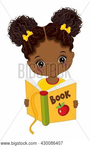 Cute Little Black Girl Reading Book. Vector Back To School. Little African American Girl With Two Bu