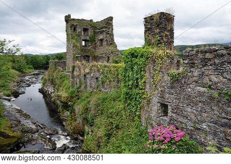 Carriganass, Ireland- July 12 2021: The Ruines Of Carriganass Castle In County Cork Ireland