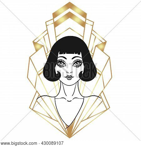 Beautiful Girl In Art Deco Style. Retro Fashion: Glamour Woman Of Twenties. Vector Illustration. Fla