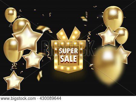 Super Sale Gift Box Like Golden Retro Board Broadway Sign Vector Illustration.
