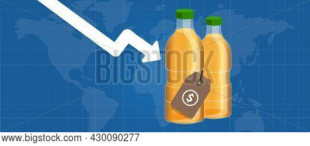 Palm Oil Price Going Down Decrease Drop Low Decline Trade Market International Arrow Chart Down