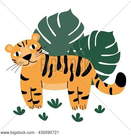 Cute Orange Tiger With Spots In The Wild For Kids Education Or Coloring Pages.  Palm Leaves.  Wild C