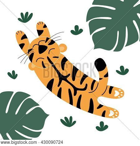 A Funny Orange Tiger Is Jumping And Basking In The Grass.  Palm Leaves.  Wild Cute Predatory Cats Is