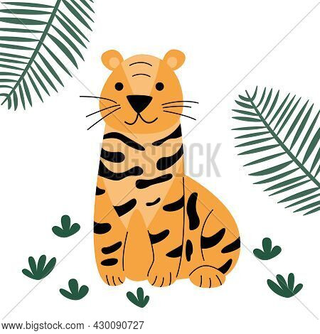 Cute Orange Tiger With Spots In The Wild For Kids Education Or Coloring Pages.  Wild Cute Predatory