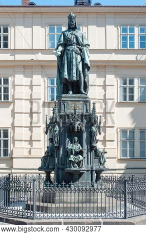 Sculpture Of Charles Iv (1316-1378), Holy Roman Emperor, The Second King Of Bohemia Near The Charles