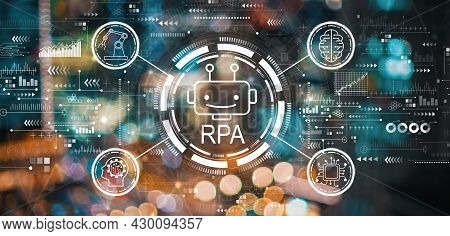 Robotic Process Automation Rpa Theme With Blurred City Abstract Lights Background