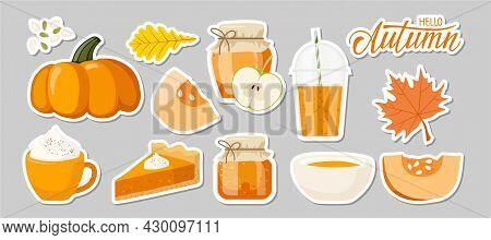 Pumpkin Seasonal Products Sticker Set. Pumpkin, Pie, Jam, Latte, Oil, Smoothie, Soup. Autumn Delicio