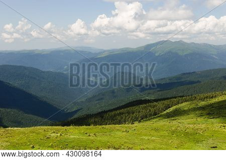 Panoramic Views Of The Beautiful Landscape In The Carpathian Mountains. Tourism Or Freedom Concept.