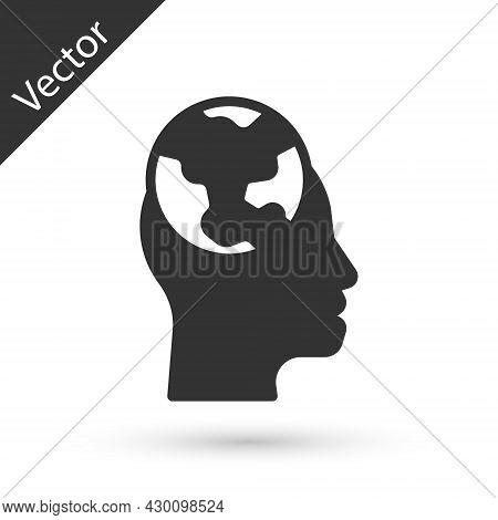 Grey Learning Foreign Languages Icon Isolated On White Background. Translation, Language Interpreter