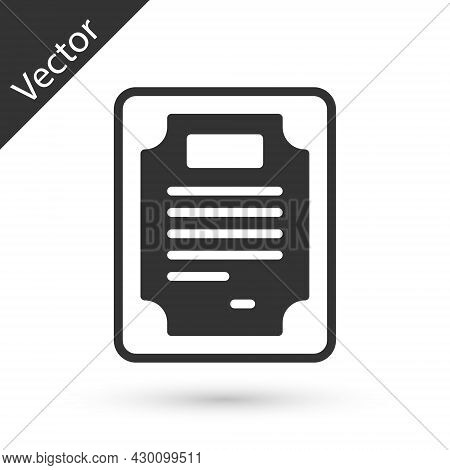 Grey Certificate Template Icon Isolated On White Background. Achievement, Award, Degree, Grant, Dipl