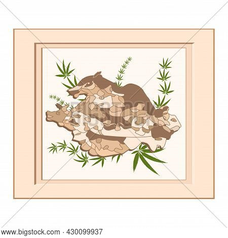 Group Of Abstract Human Faces And Beasts, Artistic Frame - Vector Illustration. International Artist