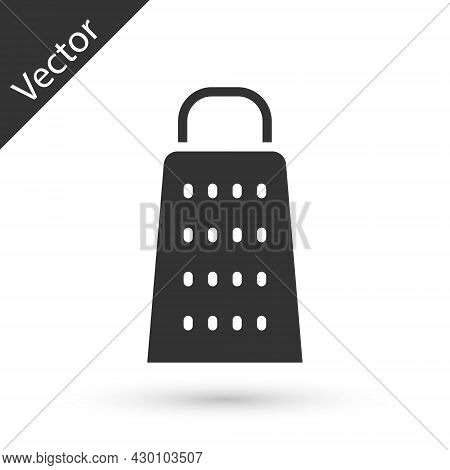 Grey Grater Icon Isolated On White Background. Kitchen Symbol. Cooking Utensil. Cutlery Sign. Vector