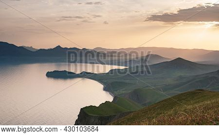 Stunning Scenery In The Sunset Rays Of The Sea Coast And Mountains. Black Sea Coast, View Of Koktebe