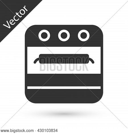 Grey Oven Icon Isolated On White Background. Stove Gas Oven Sign. Vector