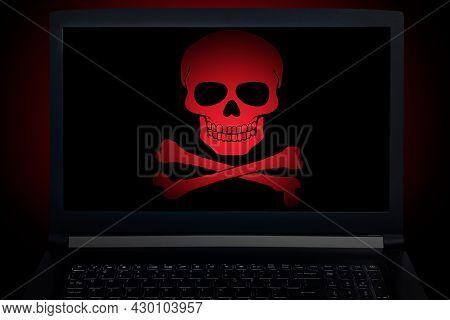 Computer Notebook Virus Fraud Or Spam Notification. Internet Online Virus Alert Icon.