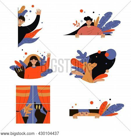 Cute Peeping Cartoon Characters Vector Illustrations Set. Boy Hiding Behind Wall Or Bush, Spying Or