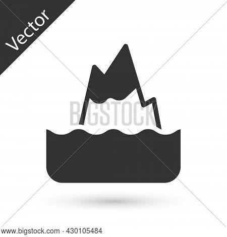 Grey Iceberg Icon Isolated On White Background. Vector