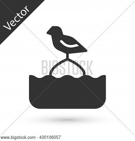 Grey Seagull Sits On A Buoy In The Sea Icon Isolated On White Background. Vector