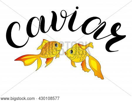 Two Goldfish And The Funny Inscription Caviar